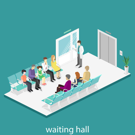 waiting room in hospital. Visitors sit on the chairs in the corridor. patient waits to receive a doctor. Flat 3D vector illustration. Hình minh hoạ
