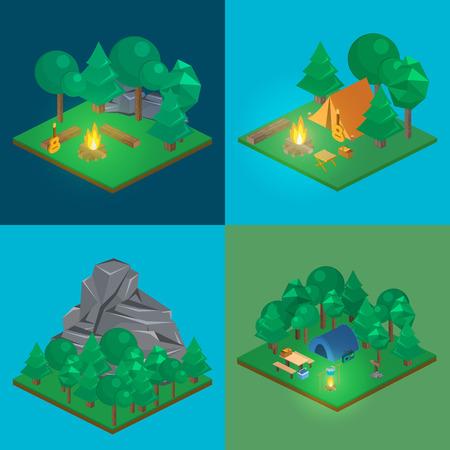 tree log: Isometric landscape for camping. Flat 3D vector illustration. Illustration