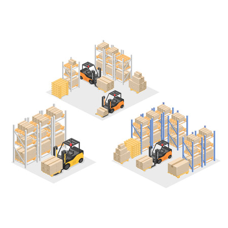 warehouse interior: isometric interior of warehouse. The boxes are on the shelves. Flat 3d vector illustration.