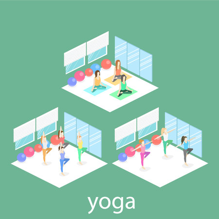 Isometric interior of yoga class. people do yoga. Vector Flat 3D illustration.