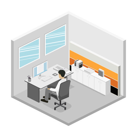 person computer: Flat 3d isometric abstract office floor interior departments concept. Set of isometric business people , info graphic vector design