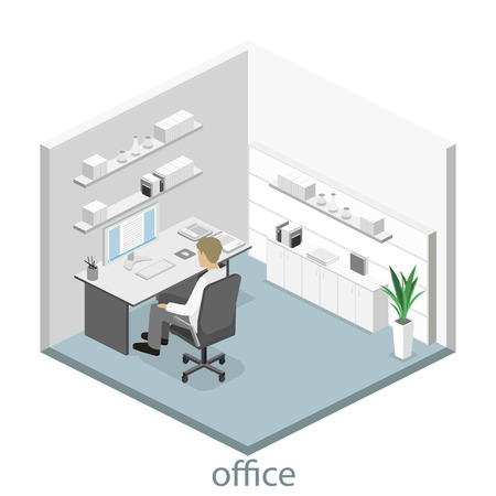 detective agency: Flat 3d isometric abstract office floor interior departments concept. Set of isometric business people , info graphic vector design