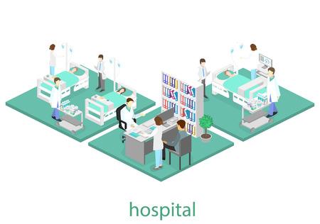 Isometrisch plat interieur van ziekenhuiskamer. Artsen die de patiënt behandelen. Platte 3D-vectorillustratie