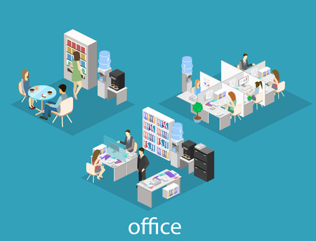 partitions: Flat 3d isometric abstract office floor interior departments concept vector. People working in offices.