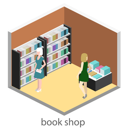 ibook: Isometric flat 3D interior of book shop. Vector illustration ibook store. People choose and buy books Illustration