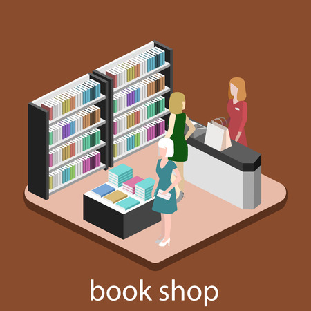 cash book: Isometric flat 3D interior of book shop. Vector illustration ibook store. People choose and buy books Illustration