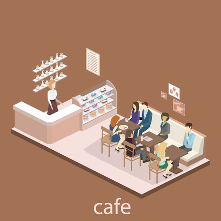 sweetshop: Isometric interior of sweet-shop. People sit at the table and eating. Flat 3D vector illustration Illustration
