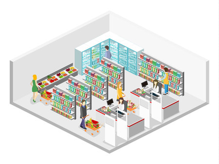 Isometrische interieur van de supermarkt. Winkelcentrum flat isometrische 3D-concept web vector illustratie.
