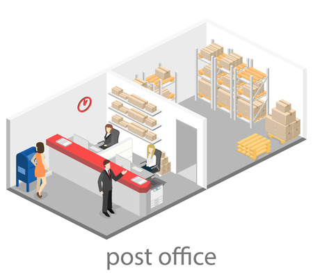 Isometric flat 3D interior of post office. Vector illustration post service Ilustração