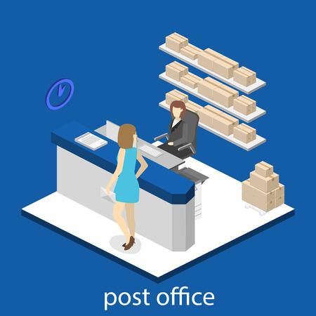 Isometric flat 3D interior of post office. Vector illustration post service Ilustracja