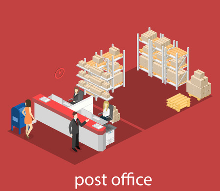 post office building: Isometric flat 3D interior of post office. Vector illustration post service Illustration