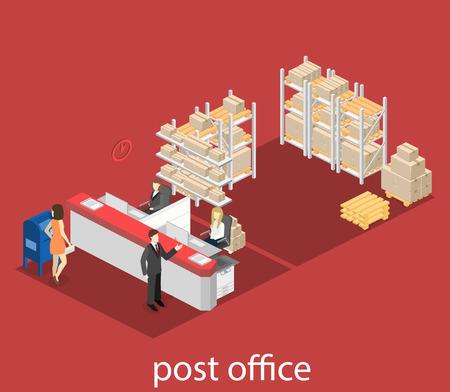 Isometrica 3D piatto interno dell'ufficio postale. Illustrazione vettoriale Posta