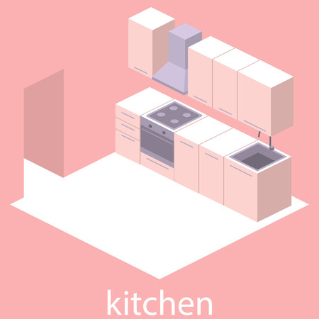 modern kitchen: Isometric flat 3D interior of modern kitchen. full set of kitchen furniture vector ilustration. Illustration