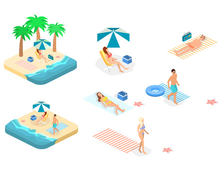 Isometric infographic landscape with sea and people on the beach. Isometric flat 3D landscape. Set of object