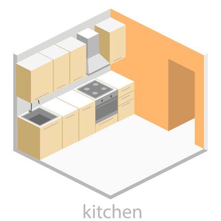 modern kitchen: Isometric flat 3D interior of modern kitchen. full set of kitchen furniture vector ilustration. Illustration