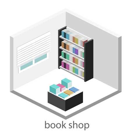 ibook: Isometric flat 3D interior of book shop. Vector illustration ibook store.