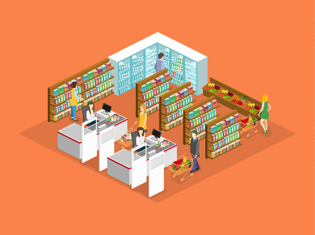 Isometric interior of grocery store. Shopping mall flat 3d isometric concept web vector illustration. Vectores