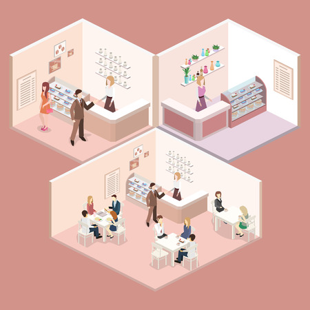 sweetshop: Isometric interior of sweet-shop. People sit at the table and eating. Flat 3D illustration