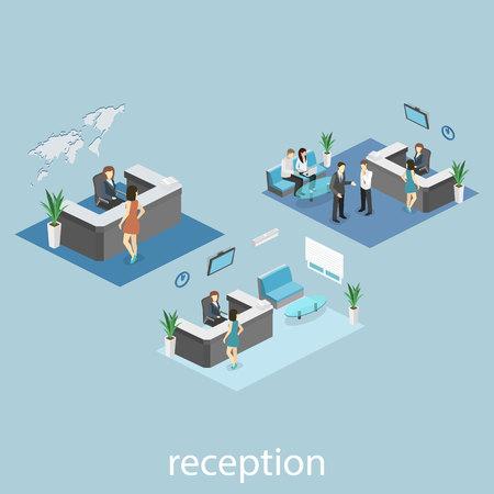 registro: Interior isométrica de recepción. Piso ilustración 3D real de la sala de espera Vectores