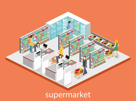 cash register building: Isometric interior of grocery store. Shopping mall flat 3d isometric concept web illustration.