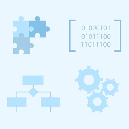 ciclo de vida: iconos de desarrollo de software de proceso de ciclo de vida. iconos planos Vectores