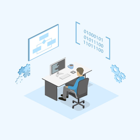 time specification: Flat 3D isometric concept illustration of office software developer and teamwork. development of mobile applications.