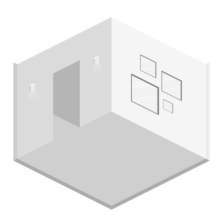 Isometric flat 3D abstract interior emply room. White illustration room