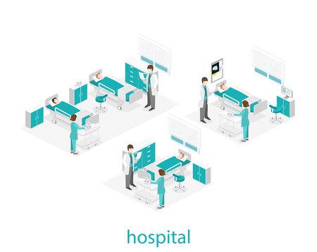 interior plana isométrica de la habitación del hospital. Los médicos que tratan al paciente. Ilustración 3D plana
