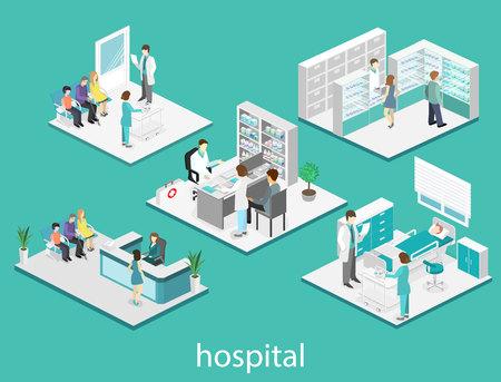 Isometrischen Wohnung Innenraum des Krankenzimmer, Apotheke, Arztpraxis, Warteraum, Rezeption. Ärzte, den Patienten zu behandeln.