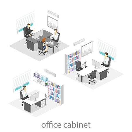 director chair: isometric interior of directors office. Flat 3D illustration of cabinet.