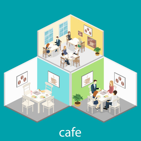 Isometric interior of coffee shop. flat 3D isometric design interior cafe or restaurant. People sit at tables and eat. Concept illustration of the room. Vektoros illusztráció