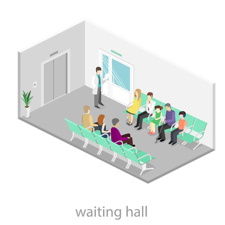 waiting room: waiting room in hospital. Visitors sit on the chairs in the corridor. patient waits to receive a doctor. Flat 3D vector illustration. Illustration