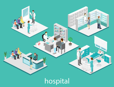 Isometric flat interior of hospital room, pharmacy, doctors office, waiting room, reception. Doctors treating the patient. Flat 3D vector illustration