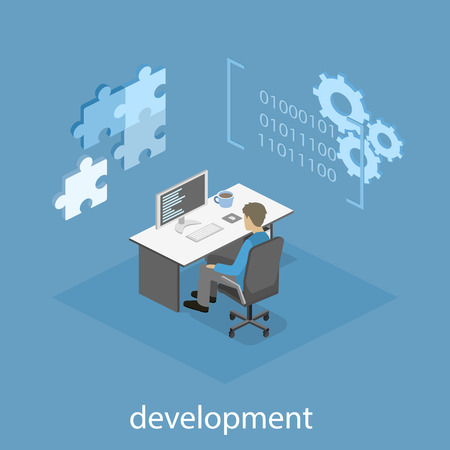 time specification: Flat 3D vector isometric concept illustration of office software developer and teamwork. development of mobile applications.