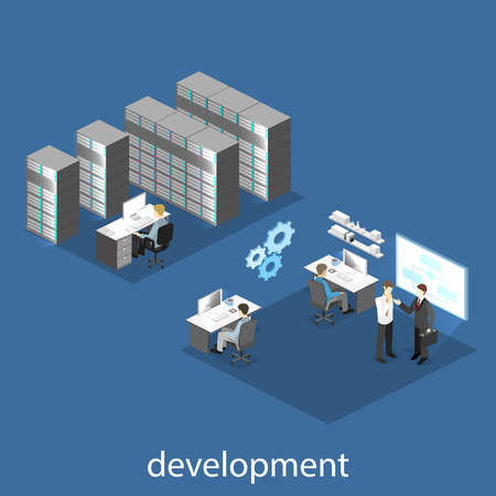 Flat 3D vector isometric concept illustration of office software developer and teamwork. development of mobile applications.