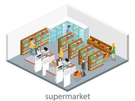 食料品店の等尺性のインテリア。ショッピング モールはフラット 3 d アイソ メトリック コンセプト web ベクトル図です。