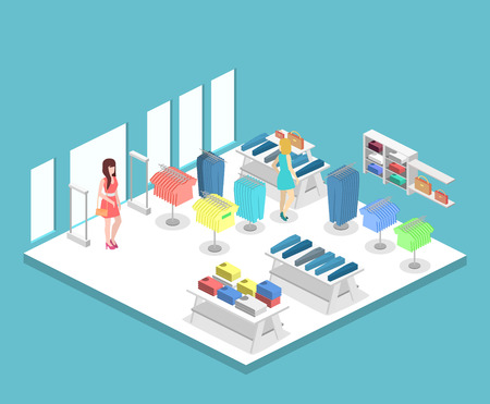 shopping center interior: Isometric infographic flat 3D concept vector interior of clothing store inside.