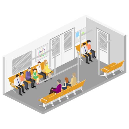 Isometrische flat 3D concept vector interieur van de metro metro treinwagon. metrostation