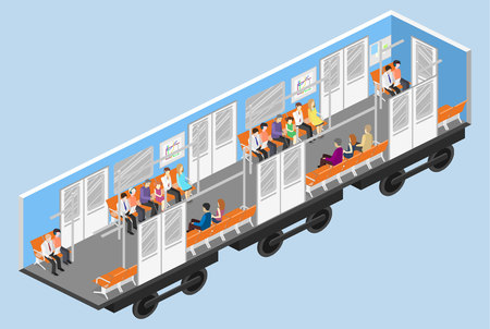 Isometrische flat 3D concept vector interieur van de metro metro treinwagon. metrostation Vector Illustratie