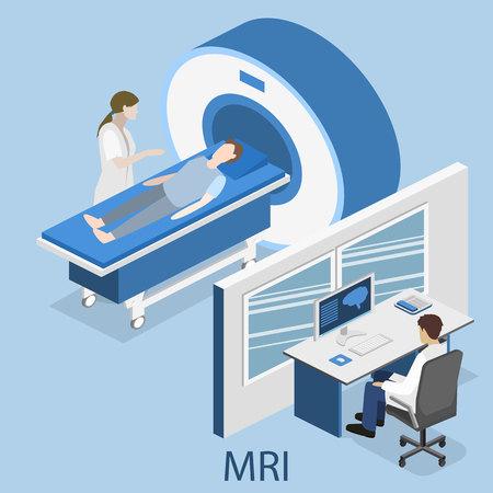 medical imaging: Isometric flat 3D concept vector hospital medical mri web illustration. Nuclear magnetic resonance imaging tomography room interior.