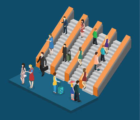 Isometric flat 3D concept vector composition depicting subway entrance underground stairs escalator Illustration