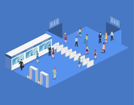 Isometric flat 3D concept vector interior of metro subway train station. underground station