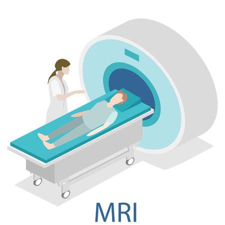 Izometryczny płaskim koncepcja 3D wektora szpitalu MRI medycznych internetowej ilustracji. Rezonans magnetyczny jądrowy tomografia wnętrze pokoju.