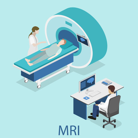 resonancia magnetica: Isometric flat 3D concept vector hospital medical mri web illustration. Nuclear magnetic resonance imaging tomography room interior.