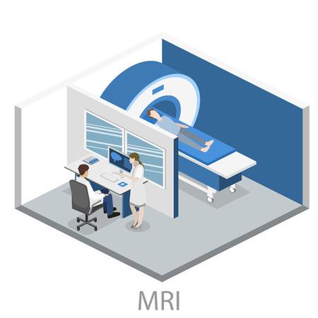 magnetic resonance imaging: Isometric flat 3D concept vector hospital medical mri web illustration. Nuclear magnetic resonance imaging tomography room interior.