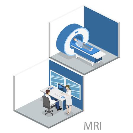 Isometric flat 3D concept vector hospital medical mri web illustration. Nuclear magnetic resonance imaging tomography room interior.