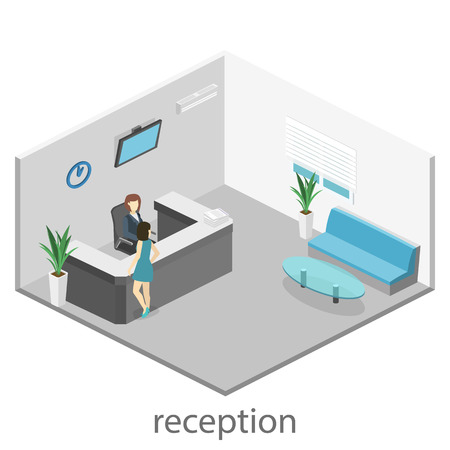 Isometric interior of reception. Flat 3D real illustration of waiting room Vectores