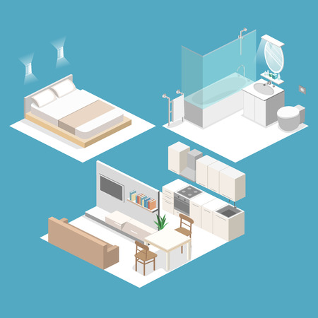 kitchen shower: Isometric flat 3D concept vector interior of studio apartments with kitchen, bathroom, living room and bedroom