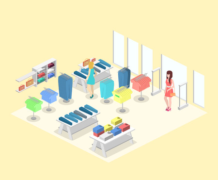 clothing rack: Isometric infographic flat 3D concept vector interior of clothing store inside.
