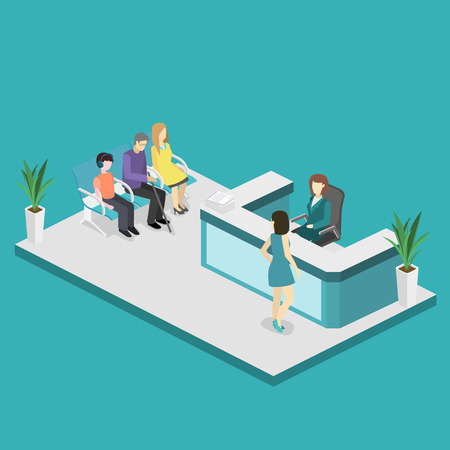 Isometric interior of reception. Flat 3D vector real illustration of waiting room in hospital or medical institution Illustration